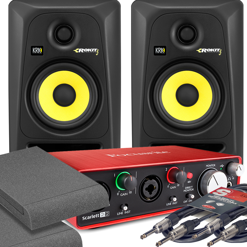 2x KRK RP5 G3 Black & Focusrite 2i2 2nd with Pads and Cables