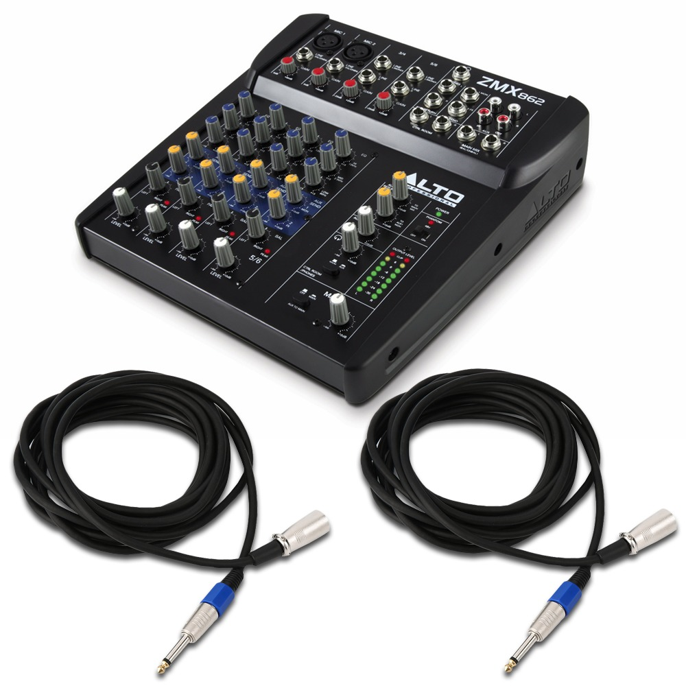 Evolution Audio Rz12a With Stands Zmx862 Mixer Amp Cables