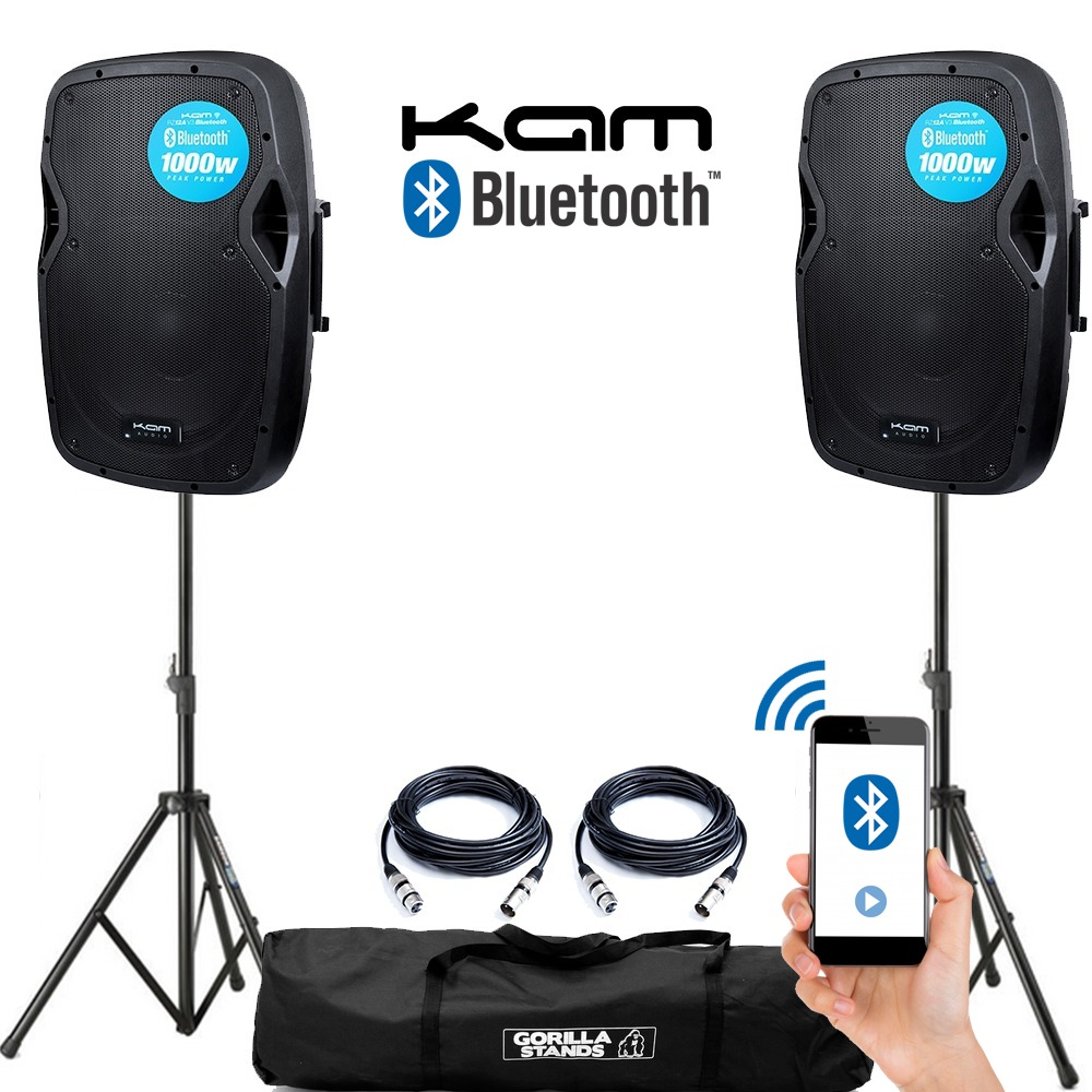 Kam Rz12a V3 Bluetooth Pair With Stands And Cables