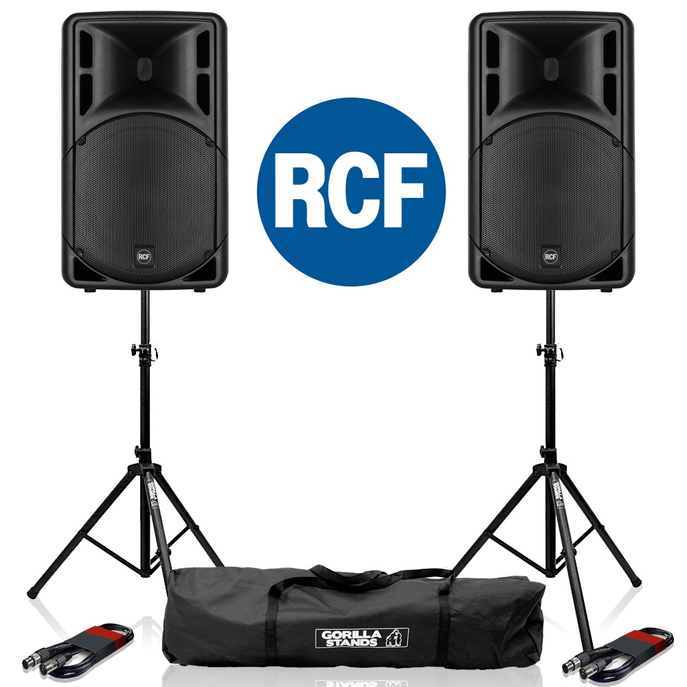 2x RCF Art 315-A MK4 Speaker with Stands & Cables