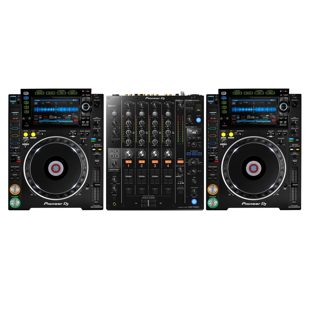 pioneer cdj 2000 nxs2 djm 750 mk2 mixer package. Black Bedroom Furniture Sets. Home Design Ideas