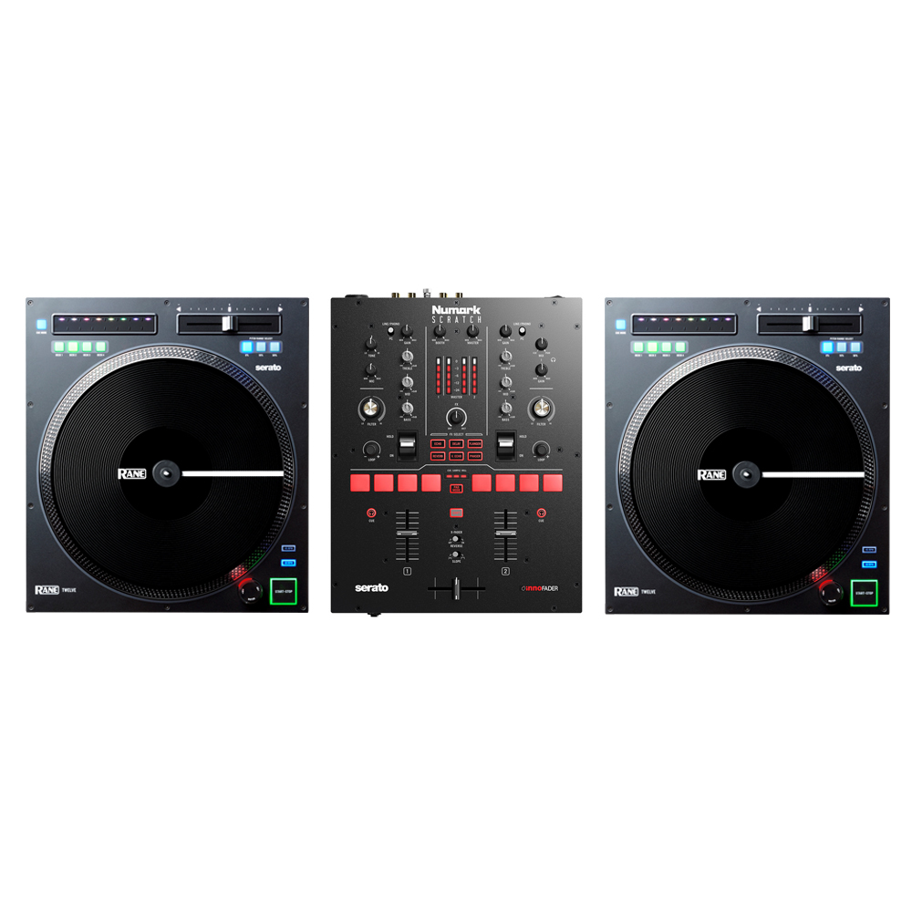 Rane TWELVE Turntable (Pair) with Numark Scratch Mixer