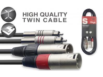 STAGG STC060CMXM 2x Male XLR To 2x RCA Phono Twin Lead