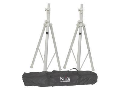 NJS White Speaker Stands & Carry Bag Kit