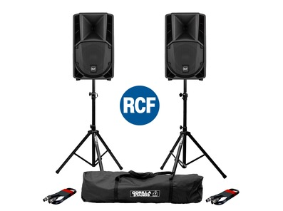 2x RCF Art 710-A MK4 PA Speakers with Stands & Cables