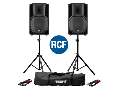 2x RCF Art 712-A MK4 PA Speakers with Stands & Cables