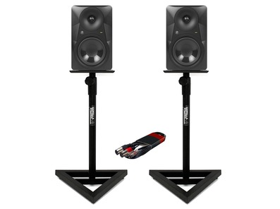 Mackie MR824 (Pair) with Stands & Cable