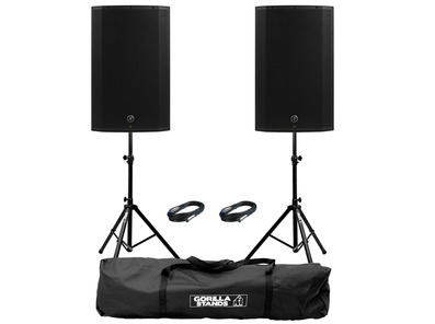 2x Mackie Thump 15A V4 with Stands & Cables