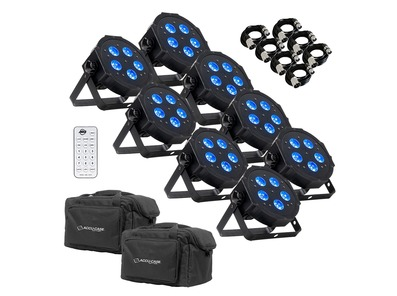 American DJ Mega HEX Par (x8) with Cables, Remote & Bags Package
