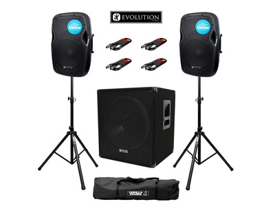 Evolution Audio RZ12A (Pair) & EL SUB 15A with Stands and Cables