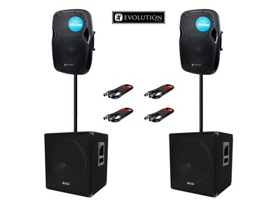 Evolution Audio RZ12A (x2) & EL SUB 15A (x2) with Poles & Cables