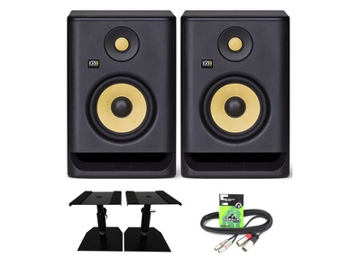 KRK Rokit RP5 G4 (Pair) with Monitor Stands & Cable