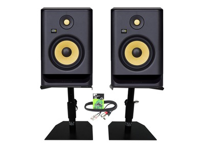 KRK Rokit RP7 G4 (Pair) with Desktop Studio Monitor Stands and Cable