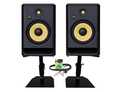 KRK Rokit RP8 G4 (Pair) with Desktop Studio Stands and Cable