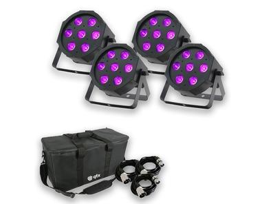 Equinox MaxiPar Quad (x4) with Carry Bag + DMX Cables