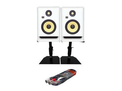 KRK RP7 G4 White Noise with Monitor Stands + Cable
