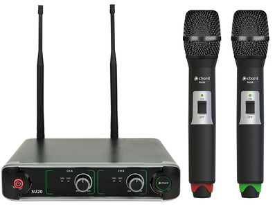 SU20 Dual UHF Handheld Microphone Set Red + Green