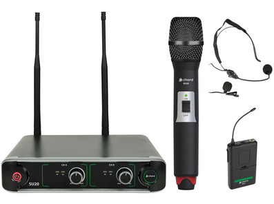 SU20 Dual UHF Combo Microphone Set Red + Green