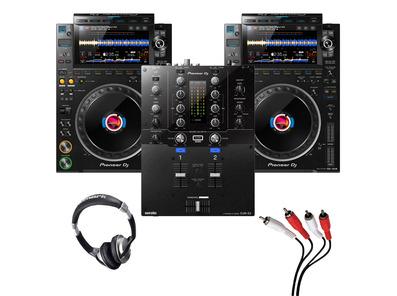 Pioneer CDJ-3000 (Pair) + DJM-S3 w/ Headphones + Cable