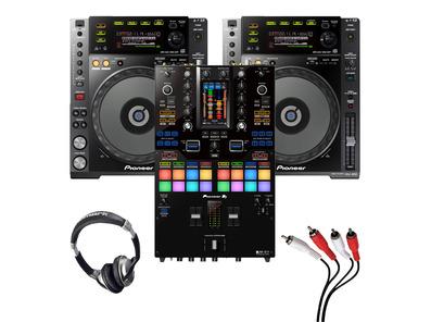 Pioneer CDJ-850 (Pair) + DJM-S11 w/ Headphones + Cable
