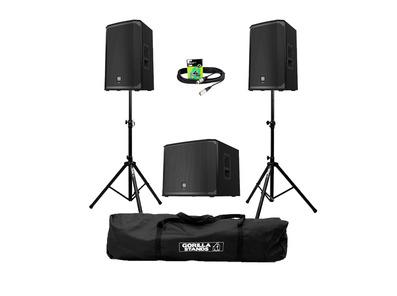 Electro-Voice EKX-15P (Pair) + EKX-18SP Sub w/ Stands, Carry Bag & Cables