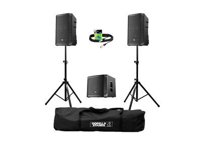 Electro-Voice ELX200-10P (Pair) + ELX200-12SP w/ Stands, Carry Bag & Cables