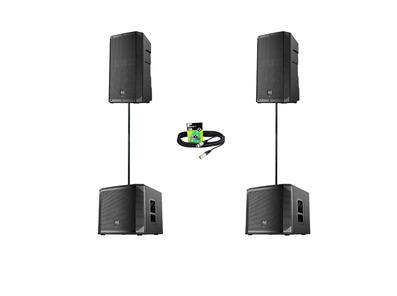 Electro-Voice ELX200-12P (Pair) + ELX200-12SP (Pair) w/ Poles & Cables