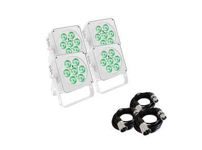 LEDJ Slimline 7Q5 RGBW (White Housing) x4 w/ DMX Cables
