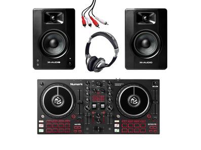 Numark Mixtrack Pro FX + M-Audio BX4 (Pair) w/ Headphones + Cable