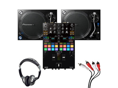 Pioneer PLX-1000 (Pair) + DJM-S7 w/ Headphones + Cable