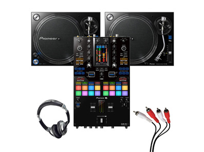 Pioneer PLX-1000 (Pair) + DJM-S11 w/ Headphones + Cable