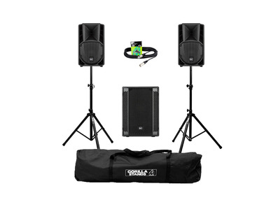 RCF Art 708-A MK4 (Pair) + 702AS II Sub w/ Stands, Carry Bag & Cables