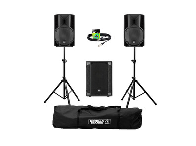 RCF Art 710-A MK4 (Pair) + 702AS II Sub w/ Stands, Carry Bag & Cables