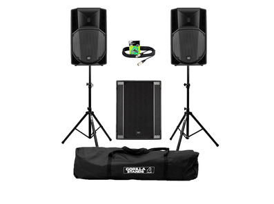 RCF Art 715-A MK4 (Pair) + 708AS II Sub w/ Stands, Carry Bag & Cables