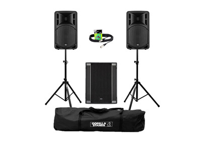 RCF Art 315-A MK4 (Pair) + 708AS II Sub w/ Stands, Carry Bag & Cables