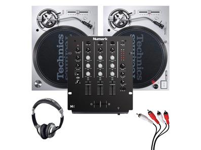 Technics SL1200MK7 (Pair) + M4 Black Mixer w/ Headphones + Cable