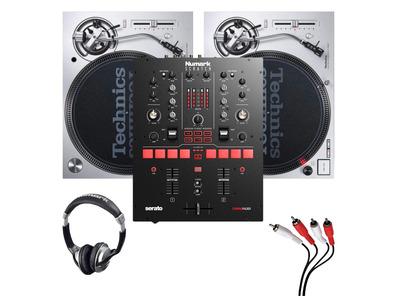 Technics SL1200MK7 (Pair) + Scratch Mixer w/ Headphones + Cable