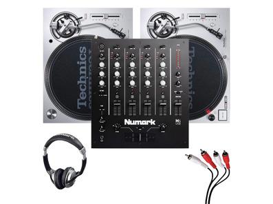 Technics SL1200MK7 (Pair) + M6 USB Mixer w/ Headphones + Cable