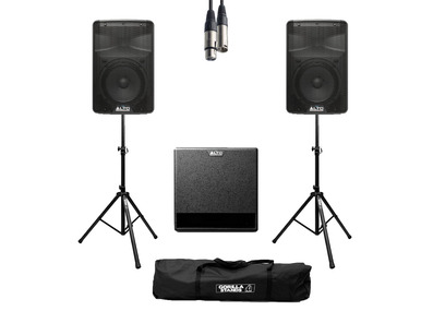 Alto TX308 (Pair) + TX212S w/ Stands, Cables & Carry Bag