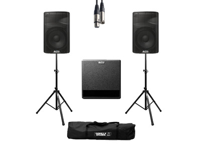 Alto TX310 (Pair) + TX212S w/ Stands, Cables & Carry Bag