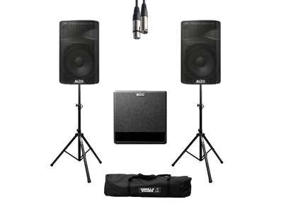 Alto TX312 (Pair) + TX212S w/ Stands, Cables & Carry Bag
