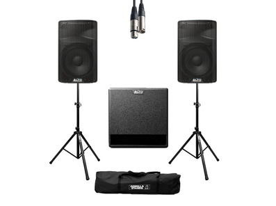 Alto TX315 (Pair) + TX212S w/ Stands, Cables & Carry Bag