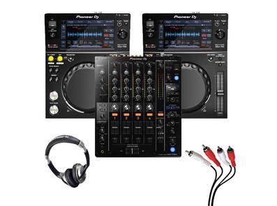 Pioneer XDJ-700 (Pair) + DJM-750 MK2 w/ Headphones + Cable