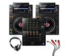 Pioneer CDJ-3000 (Pair) + DJM-750 MK2 w/ Headphones + Cable
