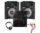 Pioneer CDJ-900 NXS (Pair) + DJM-750 MK2 w/ Headphones + Cable