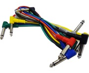 6 Coloured 6.3mm Jack Guitar Patch Leads 0.3m 1/4