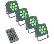 LEDJ Slimline 7Q5 x4 & Remote Package