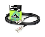 Gorilla Essential Cable 3m 2 x RCA Phono To 2 x RCA Phono Twin Lead