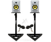 KRK Rokit RP5 G3 White with Monitor Stands & Cables
