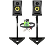 2x KRK Rokit RP4 G3 - Gorilla GSM-100 Monitor Stands & Cables